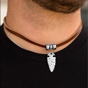 Men's Leather with Silver Arrowhead Necklace